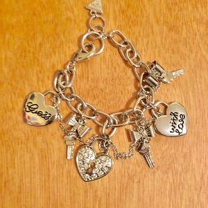 Guess key&heart silver tone charm bracelet.